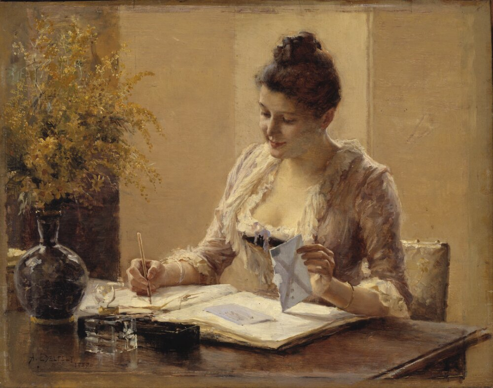Dam som skriver brev / Lady Writing a Letter, by Albert Edelfelt. Nationalmuseum, Sweden | Public Domain Mark