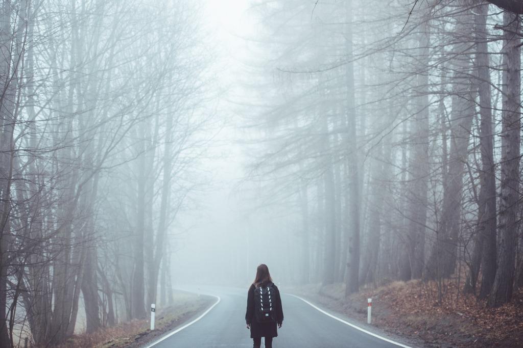 Frau geht im Nebel eine Straße entlang - Symbolbild - Image by Free-Photos from Pixabay