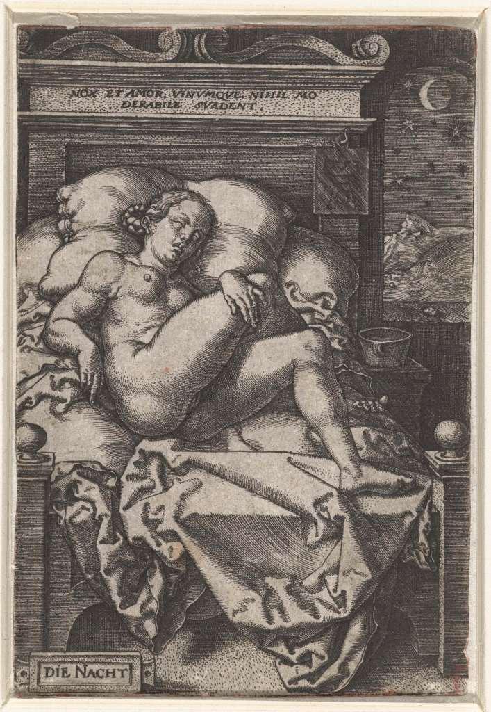 """er lateinische Schriftzug """"nox et amor, vinumque, nihil moderabile suadent"""" hier im Bild heißt frei überstezt: """"Die Nacht, die Liebe und der Wein kennen keine Zurückhaltung"""" und passt hervorragend zu den Büchern der Mitternacht von Rose Snow (Bild: """"Die Nacht"""", Hans Sebald Beham, 16. Jahrhundert, Rijksmuseum, Public Domain)"""