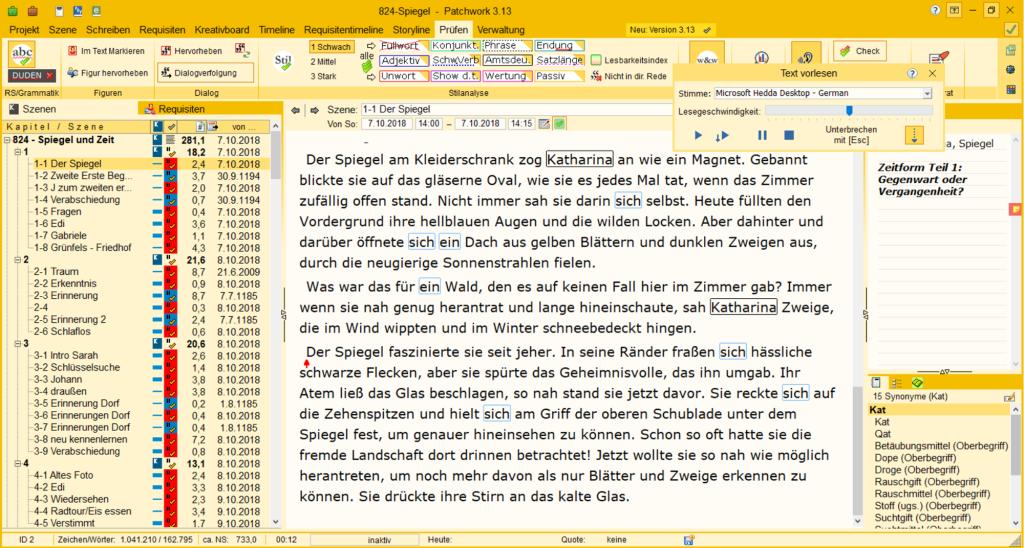 "Screenshot Autorenprogramm Patchwort Roman ""824"" Tala T"