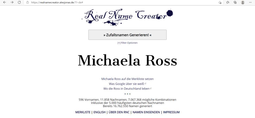 Screenshot eines Ergebnisses aus dem Real Name Generator : Michaela Ross