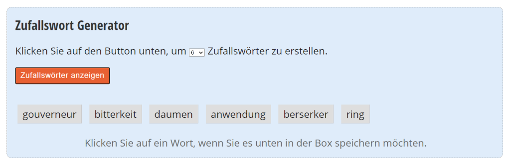 Screenshot des Zufallswort-Generator der Website Textfixer