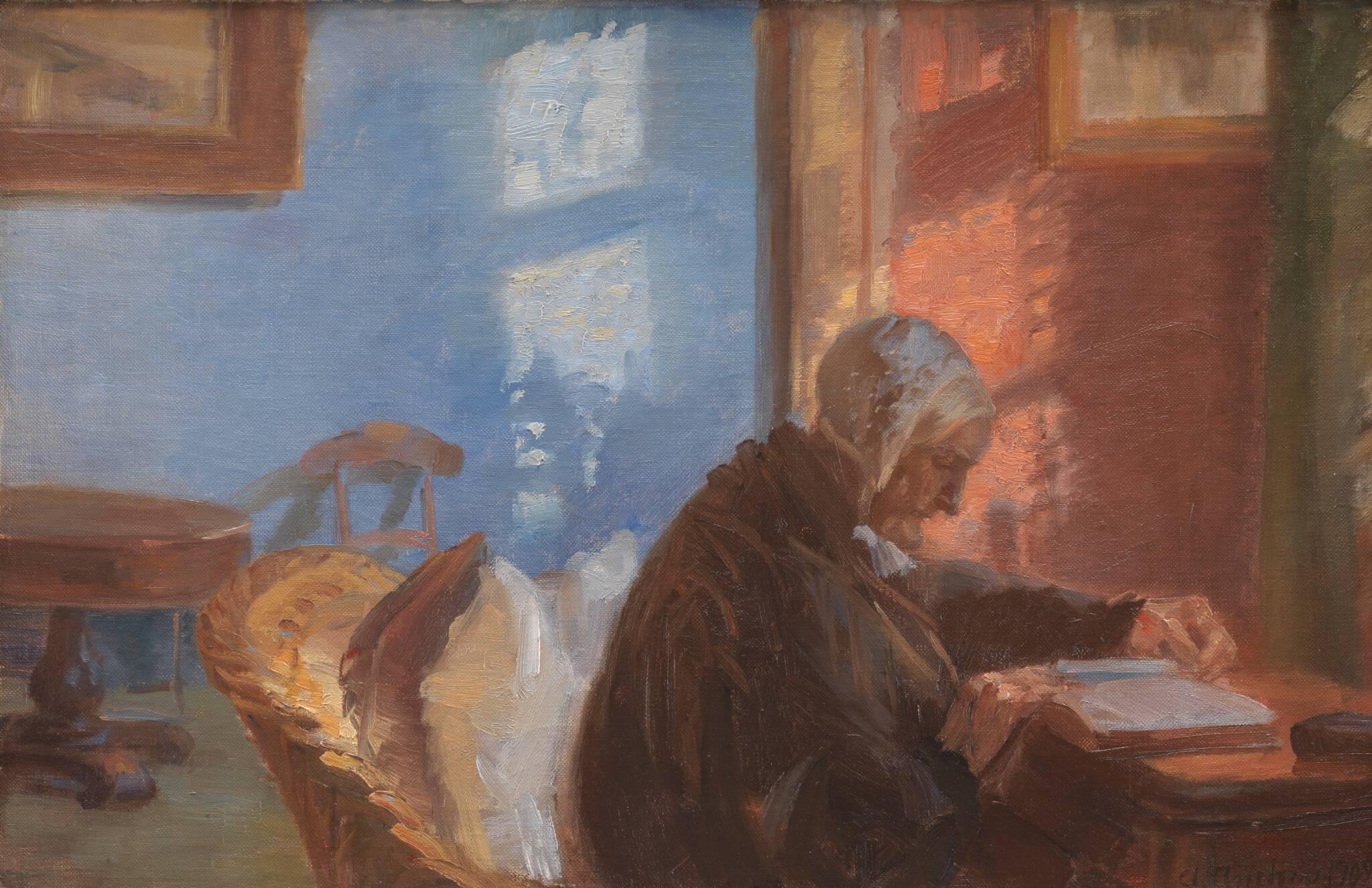 Kunstnerens mor Ane Hedvig Brøndum i den røde stue, 1909, Anna Ancher, Statens Museum for Kunst