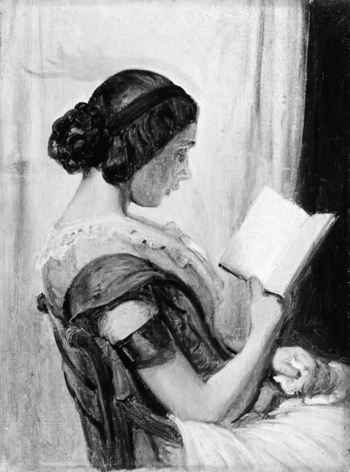 """Das Bild """"Læsende ung pige"""", 1825-1873, des Künstlers Wilhelm Marstrand, Statens Museum for Kunst"""
