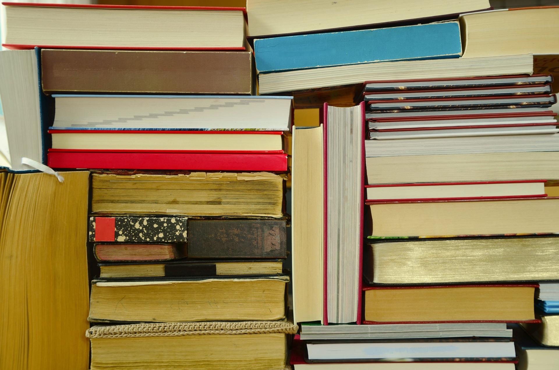 Gestapelte Bücher - Bild von congerdesign auf Pixabay