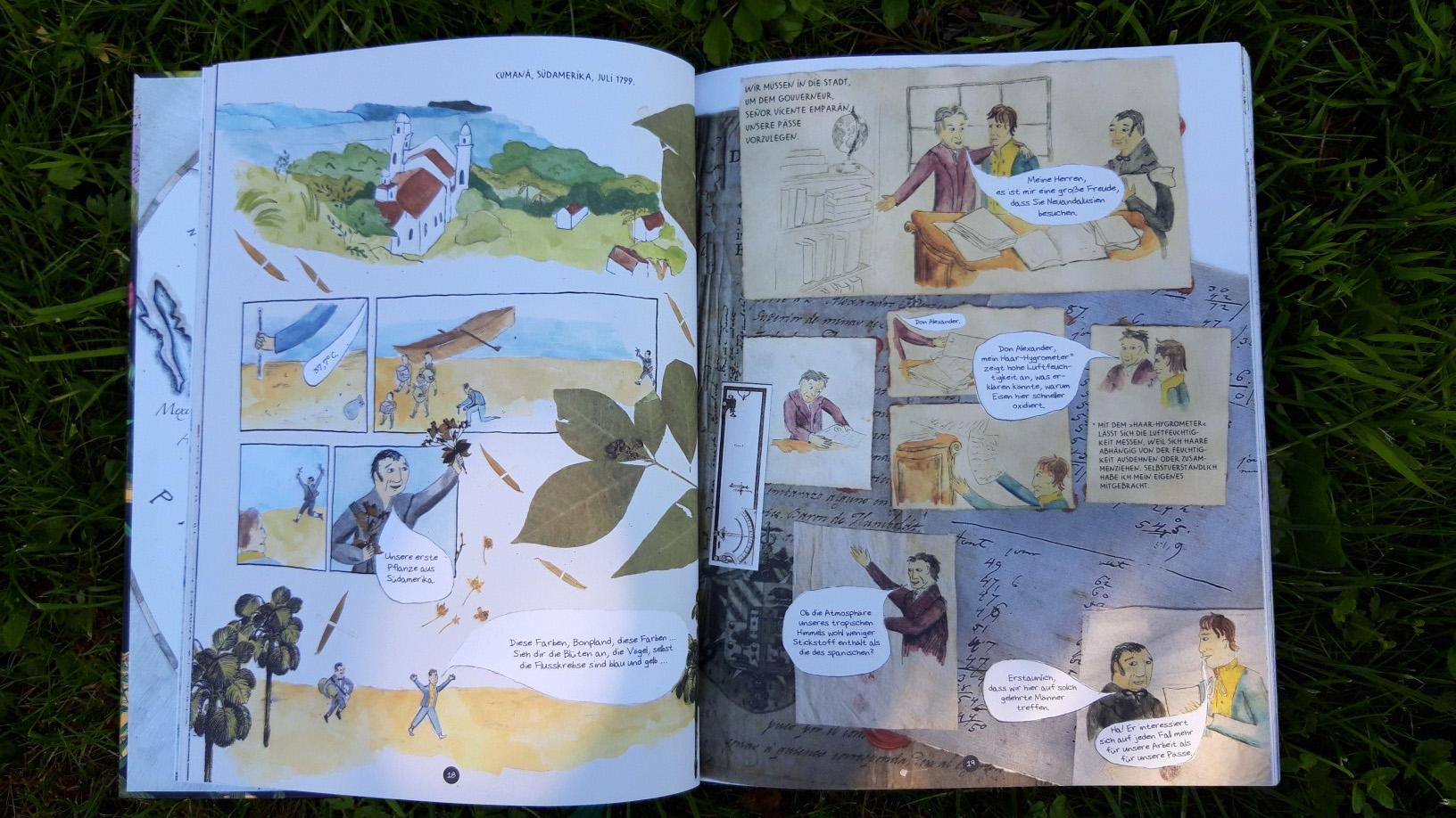 """Gepresste Pflanzenteile und handschriftliche Notizen Humboldts fügen sich collagenhaft ins Comic ein. - Blick ins Buch: Andrea Wulf """"Die Abenteuer des Alexander von Humboldt"""""""
